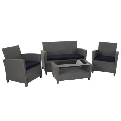 Gray 4-Piece Resin Wicker Outdoor Patio Deep Seating Conversation Set with Navy Cushions