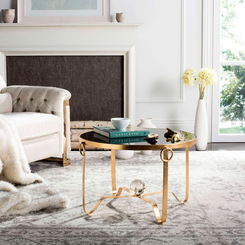 Safavieh Elisha Black/Gold Leaf Round Coffee Table-FOX2599A - The ...