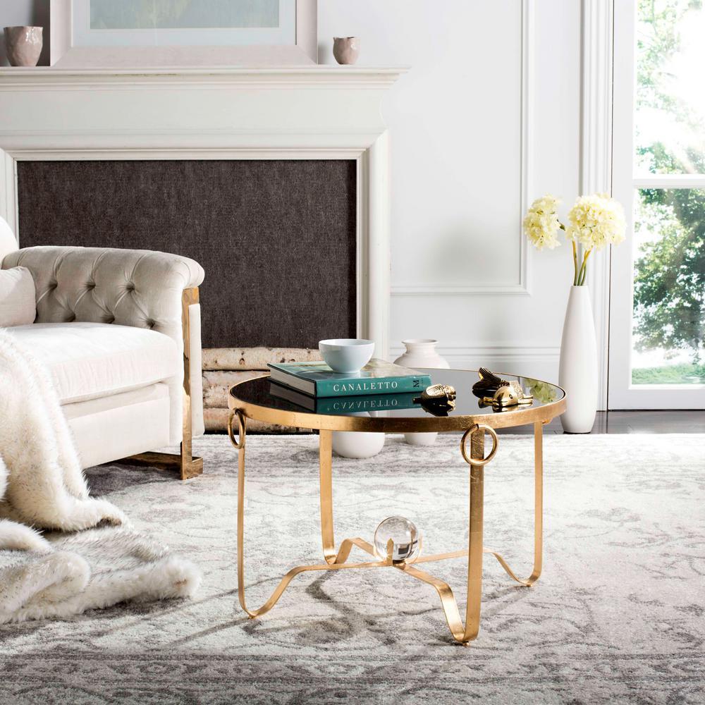 Elisha Black/Gold Leaf Round Coffee Table