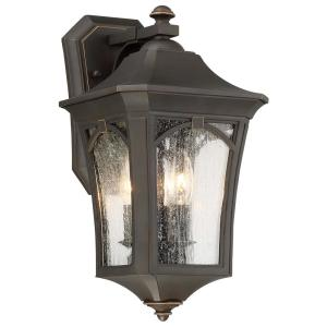 Solida 3-Light Oil Rubbed Bronze with Gold Highlights Outdoor Wall Lantern Sconce with Clear Seeded Glass