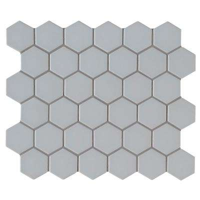 Retro Gray Hexo 12.6 in. x 11.02 in. x 6mm Porcelain Mesh-Mounted Mosaic Tile (0.96 sq. ft.)