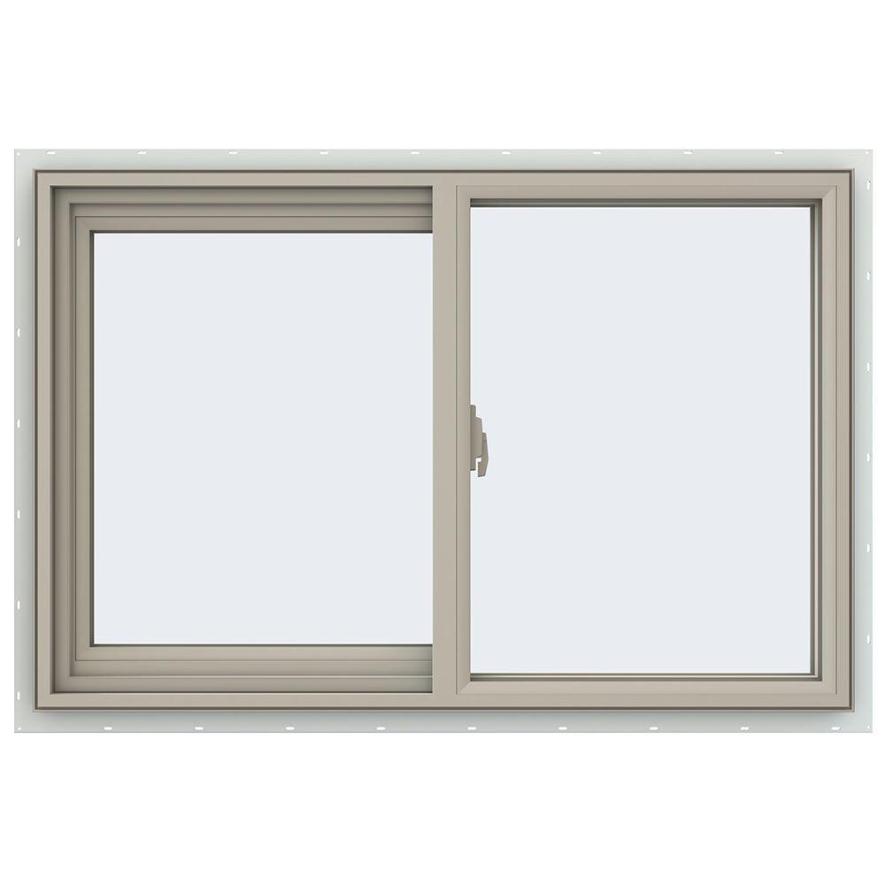 35.5 in. x 23.5 in. V-2500 Series Desert Sand Vinyl Left-Handed Sliding Window with Fiberglass Mesh Screen