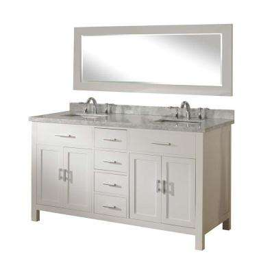 Hutton Spa 63 in. Double Vanity in Pearl White with Marble Vanity Top in Carrara White and Mirror