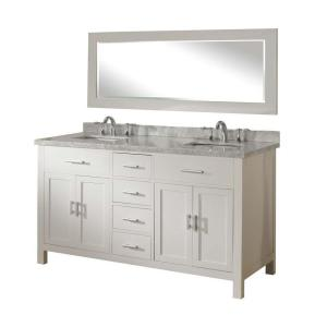 Direct vanity sink Hutton Spa 63 inch Double Vanity in Pearl White with Marble Vanity Top in Carrara White and Mirror by Direct vanity sink