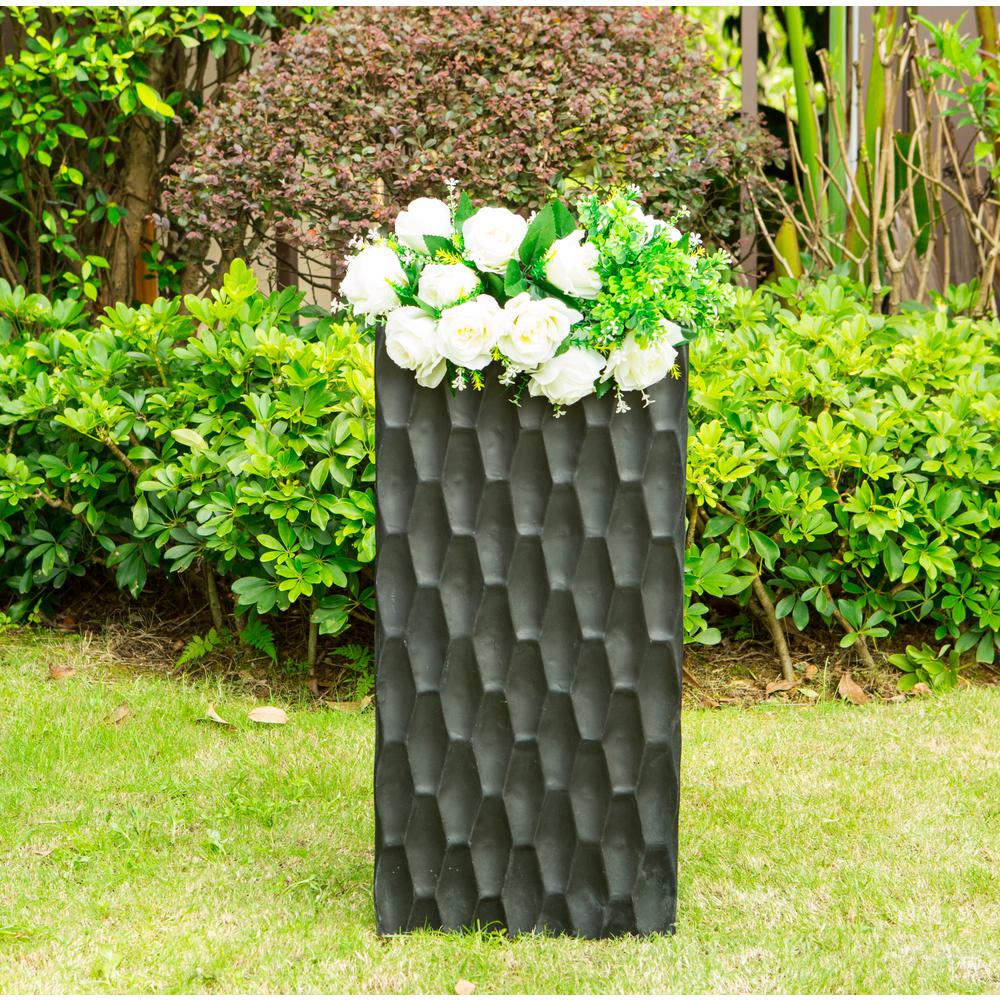 KANTE Small 19.7 in. Tall Burnished Black Lightweight Concrete Retro Tall Rectangle Outdoor Planter