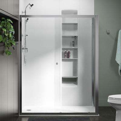 Whiston 60 in. x 74.875 in. Frameless Corner Sliding Shower Door in Silver with Handle
