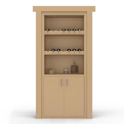 30 in. x 80 in. Flush Mount Assembled Paint Grade Unfinished Left-Hand Outswing Wine Rack Door