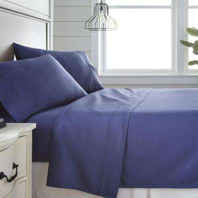 4-Piece Navy 300 Thread Count Cotton King Bed Sheet Set