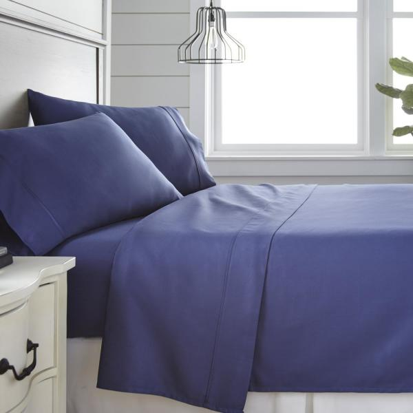 Becky Cameron 4 Piece Navy 300 Thread Count Cotton Twin Bed Sheet Set