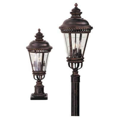 Castle 3-Light Grecian Bronze Outdoor Post Light