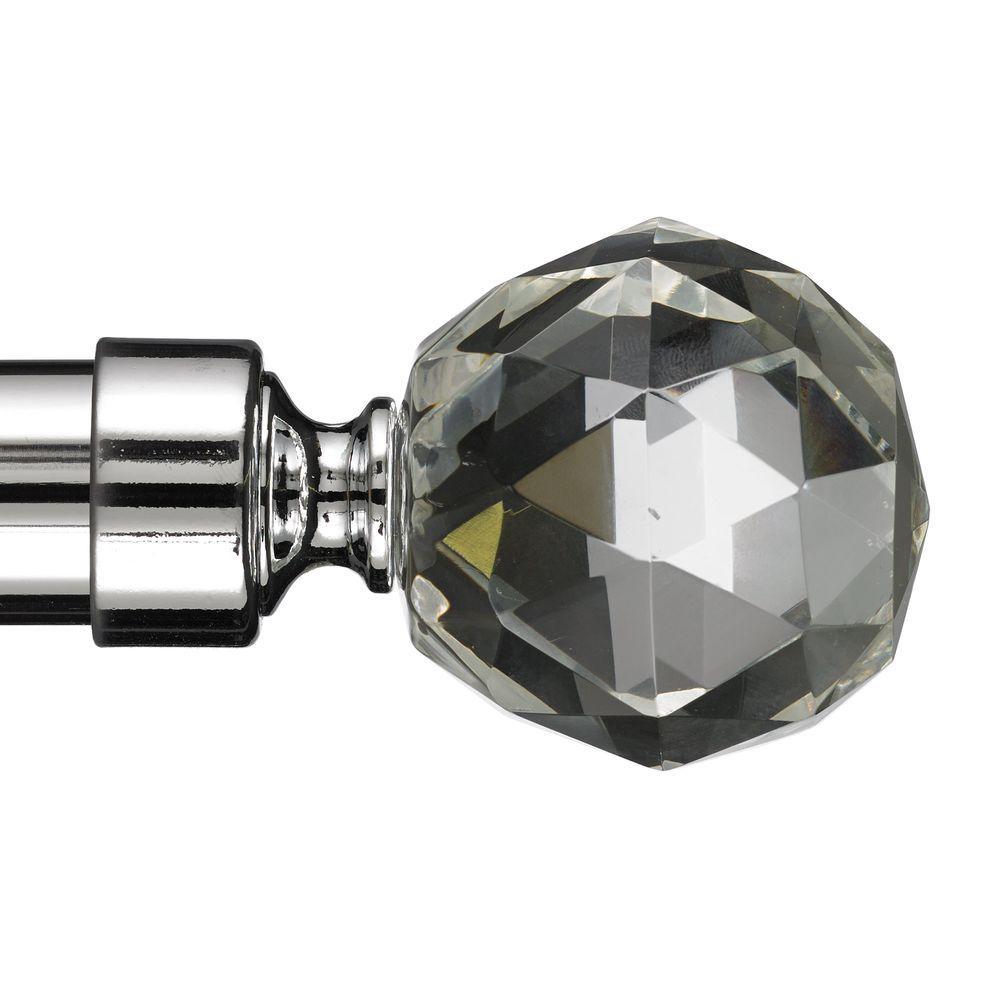 Art Decor Gemstone 10 Ft Non Telescoping Curtain Rod In Chrome