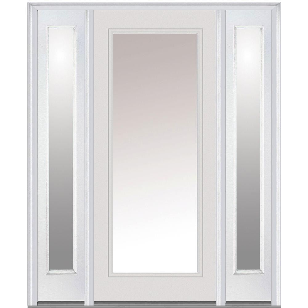 Mmi door 60 in x 80 in clear glass right hand full lite for White front door with glass