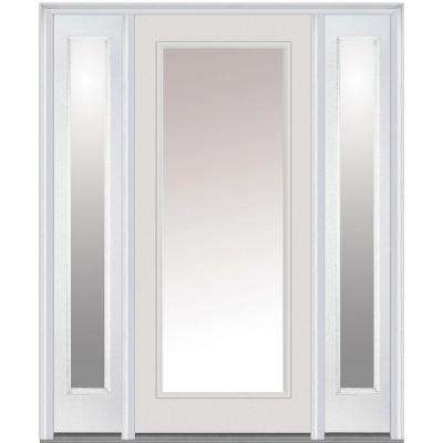 60 in. x 80 in. Classic Right-Hand Inswing Full Lite Clear Painted Steel Prehung Front Door with Sidelites