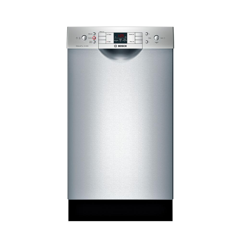 300 Series 18 in. Compact Front Control Tall Tub Dishwasher in Stainless Steel (Silver) with Stainless Steel Tub, 46dBA Our 18 in. ADA-compliant dishwashers are uniquely designed for customers with special height requirements and feature sophisticated technologies for quiet operation, outstanding performance and remarkable flexibility. Color: Stainless Steel.