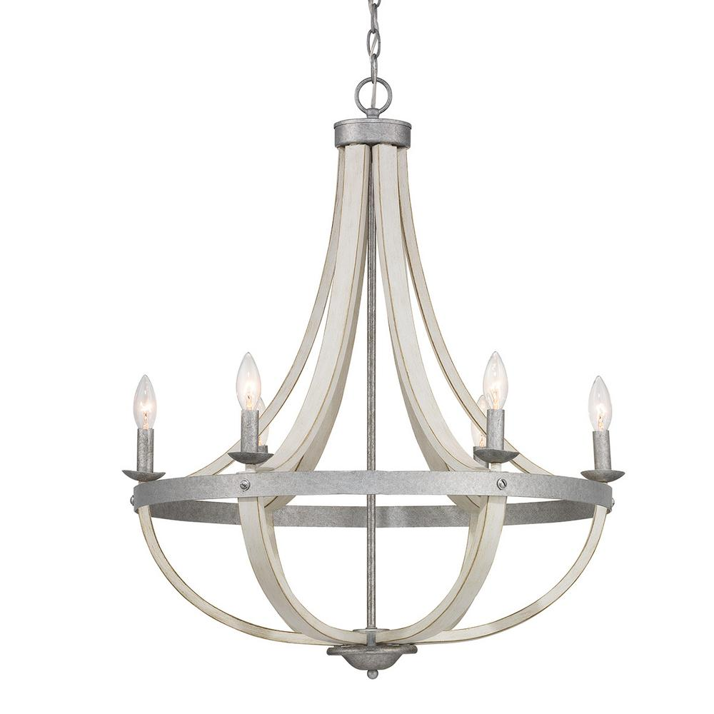 Progress Lighting Keowee 6 Light Galvanized Chandelier With Antique White Wood Accents