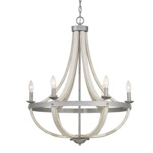 Keowee 6-Light Galvanized Chandelier with Antique White Wood Accents
