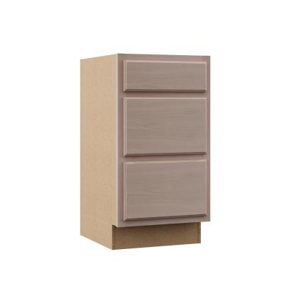 Hampton Assembled 18x34.5x24 in. Base Kitchen Cabinet with 3 Drawers in Unfinished Beech
