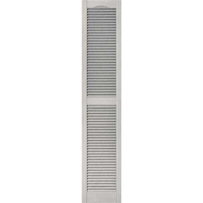 15 in. x 75 in. Louvered Vinyl Exterior Shutters Pair #030 Paintable