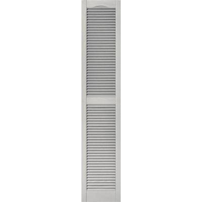 14-1/2 in. x 75 in. Louvered Vinyl Exterior Shutters Pair in #030 Paintable