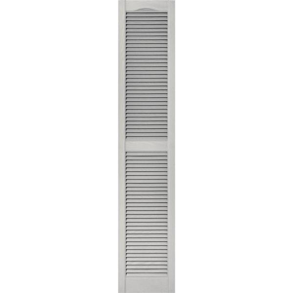 Builders Edge 15 In X 75 In Louvered Vinyl Exterior Shutters Pair 030 Paintable 010140075030 The Home Depot