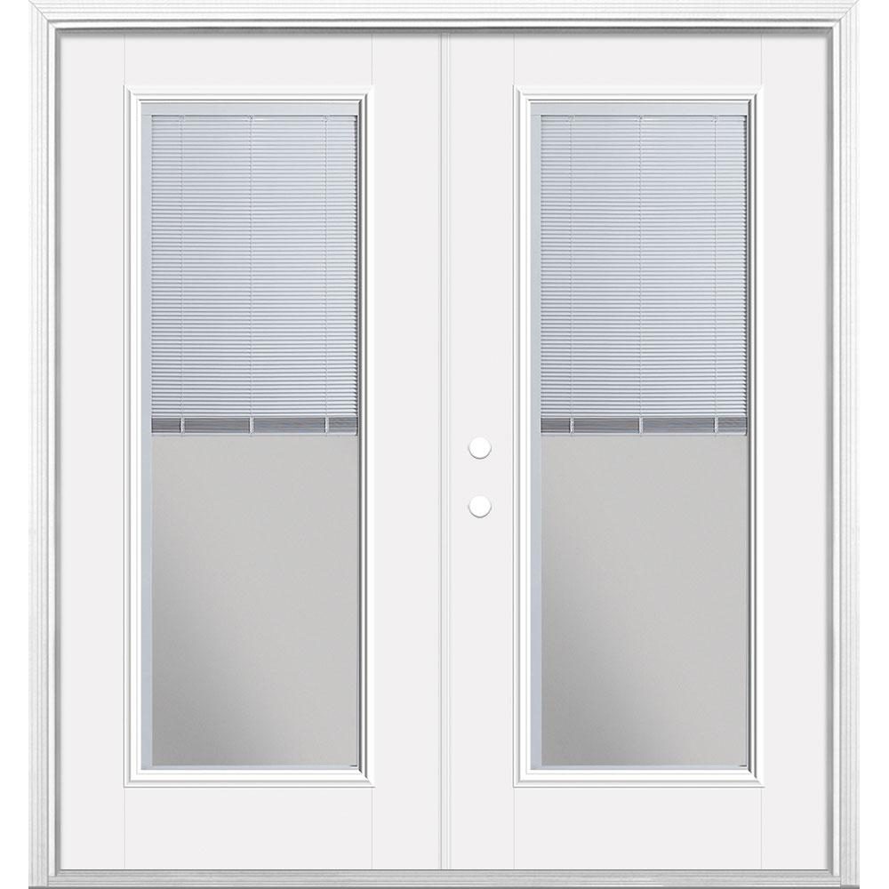 Masonite 72 in. x 80 in. Primed White Fiberglass Prehung Right-Hand Inswing Mini Blind Patio Door w/ Brickmold, Vinyl Frame