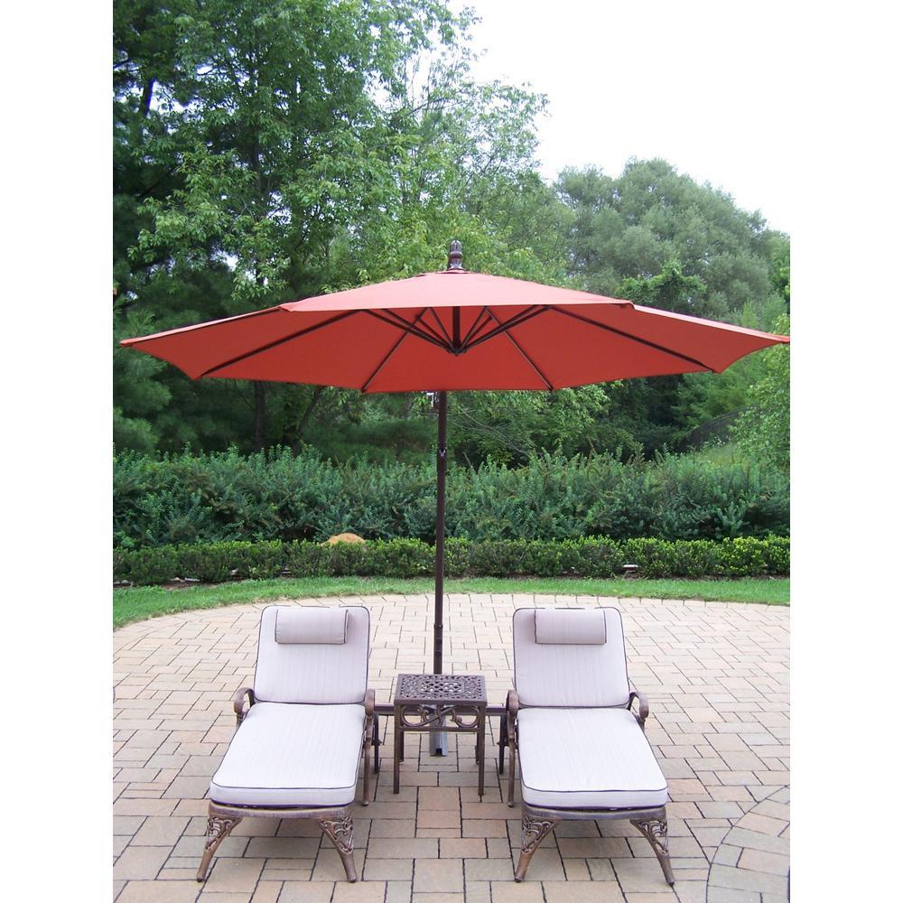4-Piece Aluminum Patio Chaise Lounge Set with Tan Cushions and Burnt Orange Umbrella
