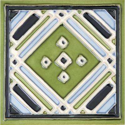 Hand-Painted Ceramic Aztec Green 6 in. x 6 in. x 6.35 mm Glazed Ceramic Wall Tile (2.5 sq. ft. / case)