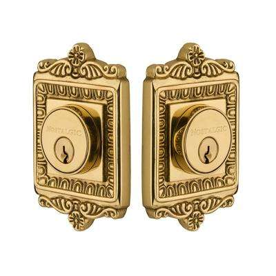 Egg and Dart Plate 2-3/4 in. Unlacquered Brass Backset Double Cylinder Deadbolt