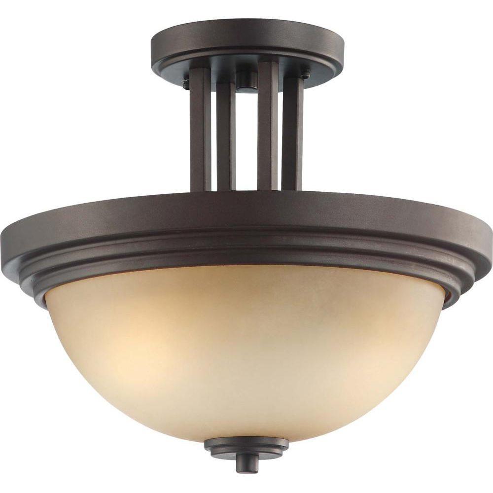 2-Light Dark Chocolate Bronze Semi-Flush Mount Light with Saffron Glass