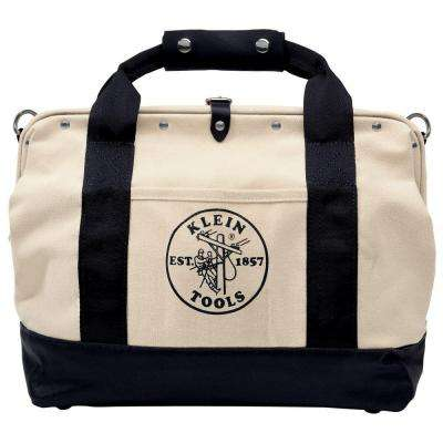 18 in. Leather-Bottom Canvas Tool Bag