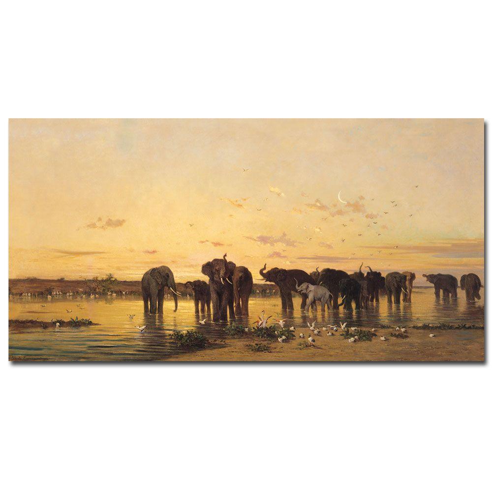 47 in. x 24 in. African Elephants Canvas Art