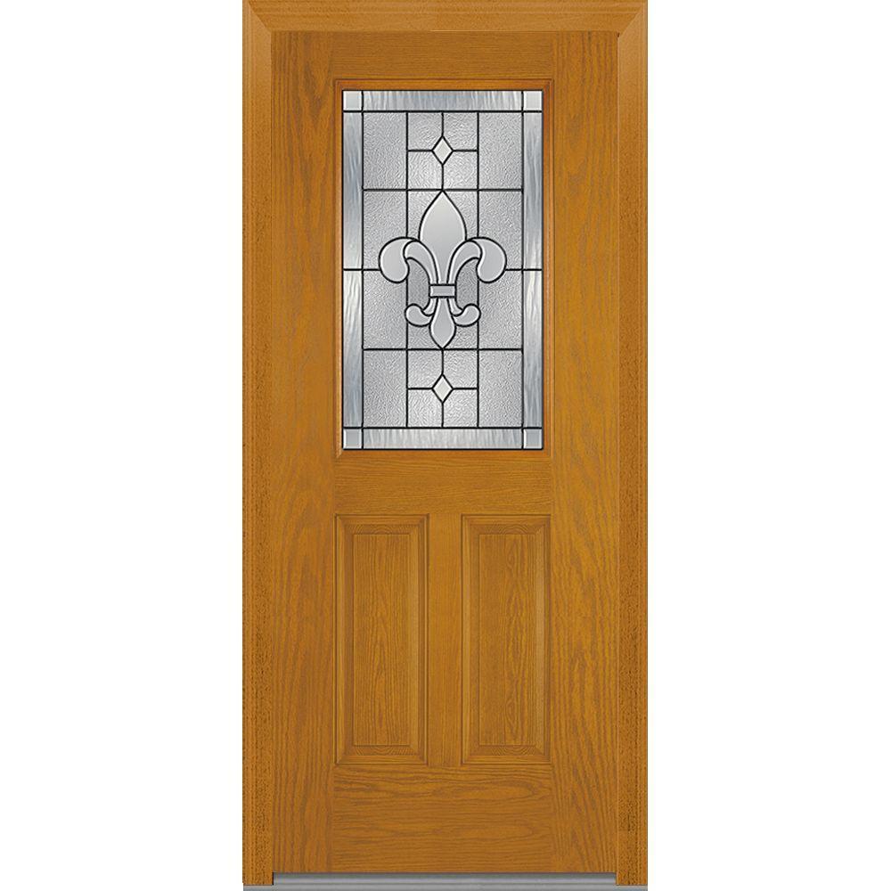 Mmi Door 37 5 In X In Carrollton Decorative Glass 1 2 Lite Oak Finished Fiberglass