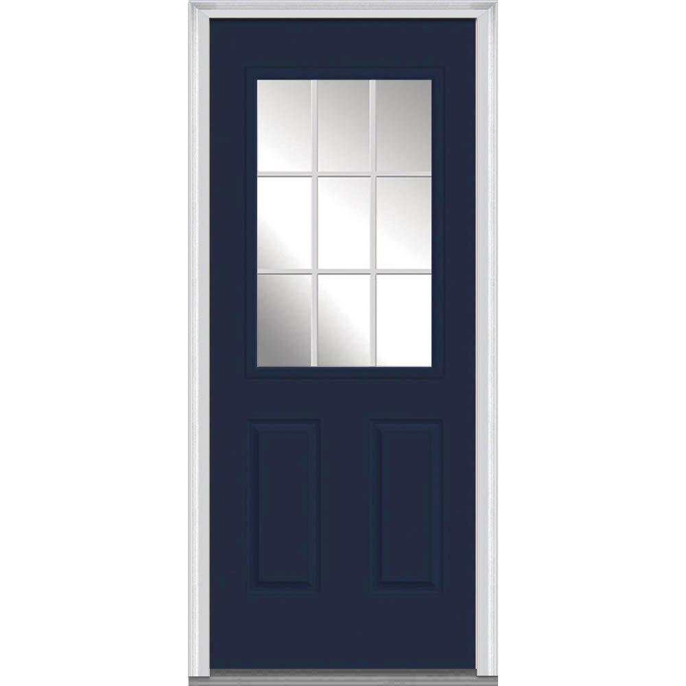 30 in. x 80 in. Grilles Between Glass Left-Hand Inswing 1/2-Lite Clear 2-Panel Painted Steel Prehung Front Door