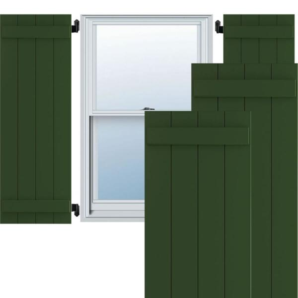Ekena Millwork 21 1 2 X 34 True Fit Pvc Four Board Joined Board N Batten Shutters Viridian Green Per Pair 1573752 The Home Depot