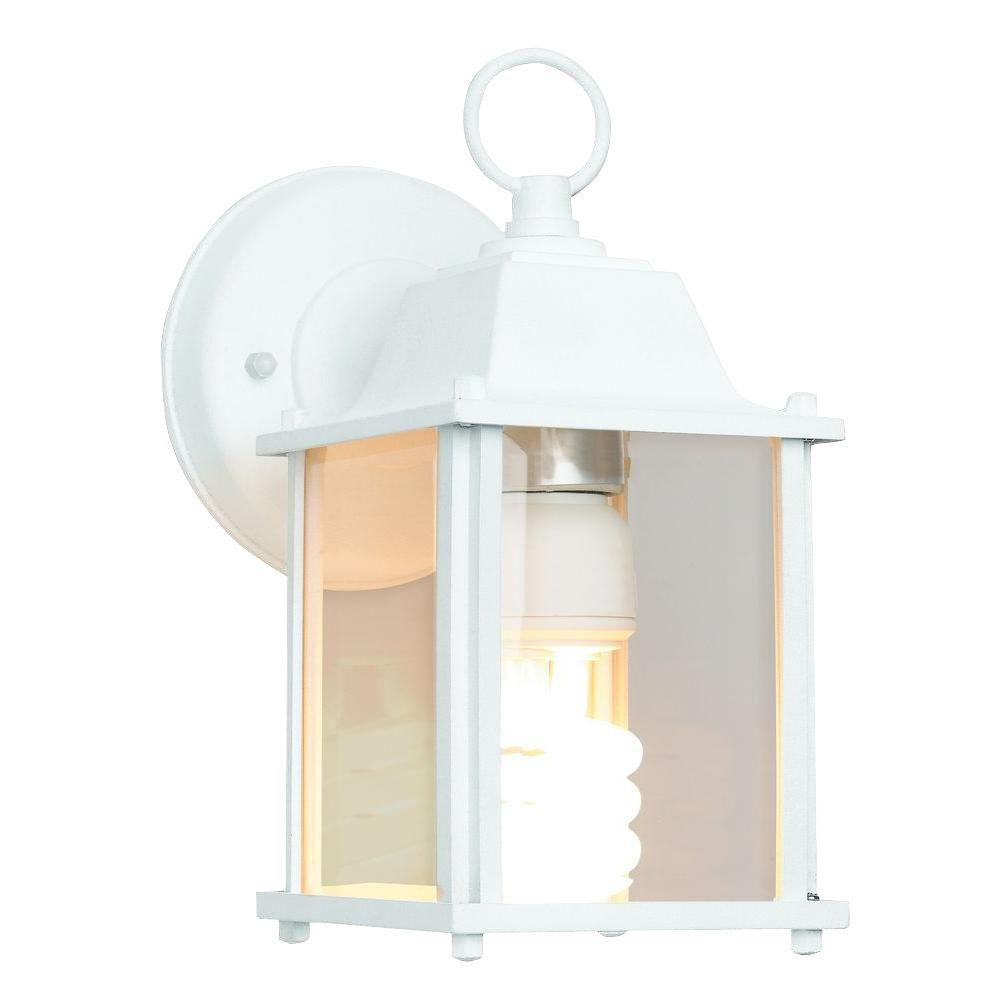 Newport coastal 13 watt white cfl square wall lantern sconce with bulb