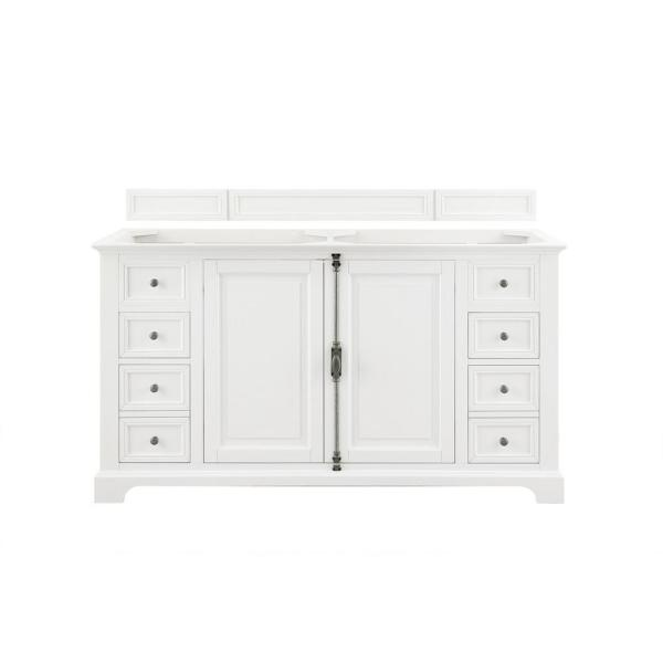 Providence 60 in. Double Vanity in Cottage White with Solid Surface Vanity Top in Arctic Fall with White Basin