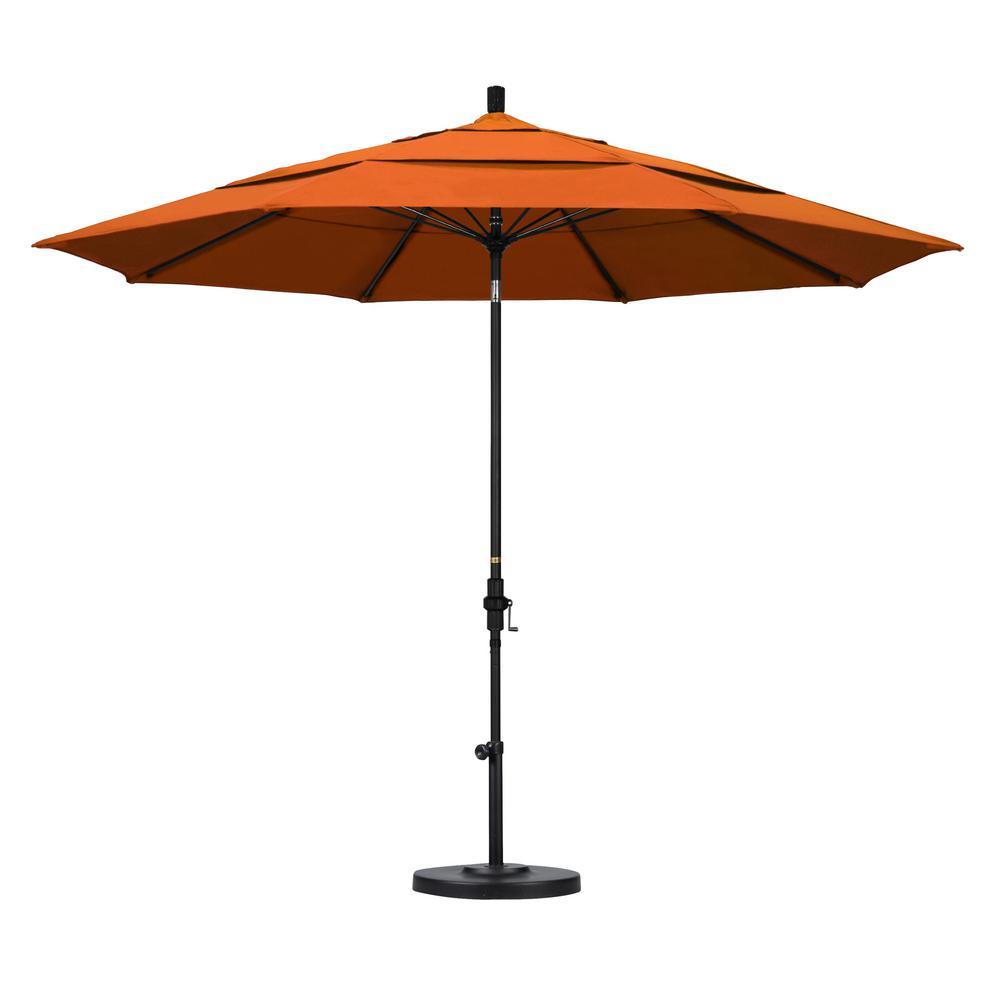 California Umbrella 11 ft. Fiberglass Collar Tilt Double Vented Patio Umbrella in Tuscan Pacifica