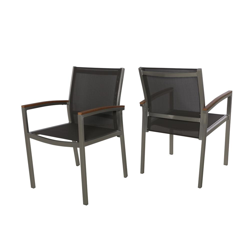 Incredible Noble House Luton Silver Armed Aluminum Outdoor Dining Chair 2 Pack Machost Co Dining Chair Design Ideas Machostcouk