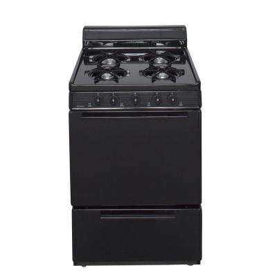24 in. 2.97 cu ft. Battery Spark Ignition Gas Range in Black