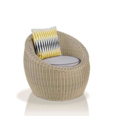 Gooding Gray White Rattan Cushioned Accent Chair