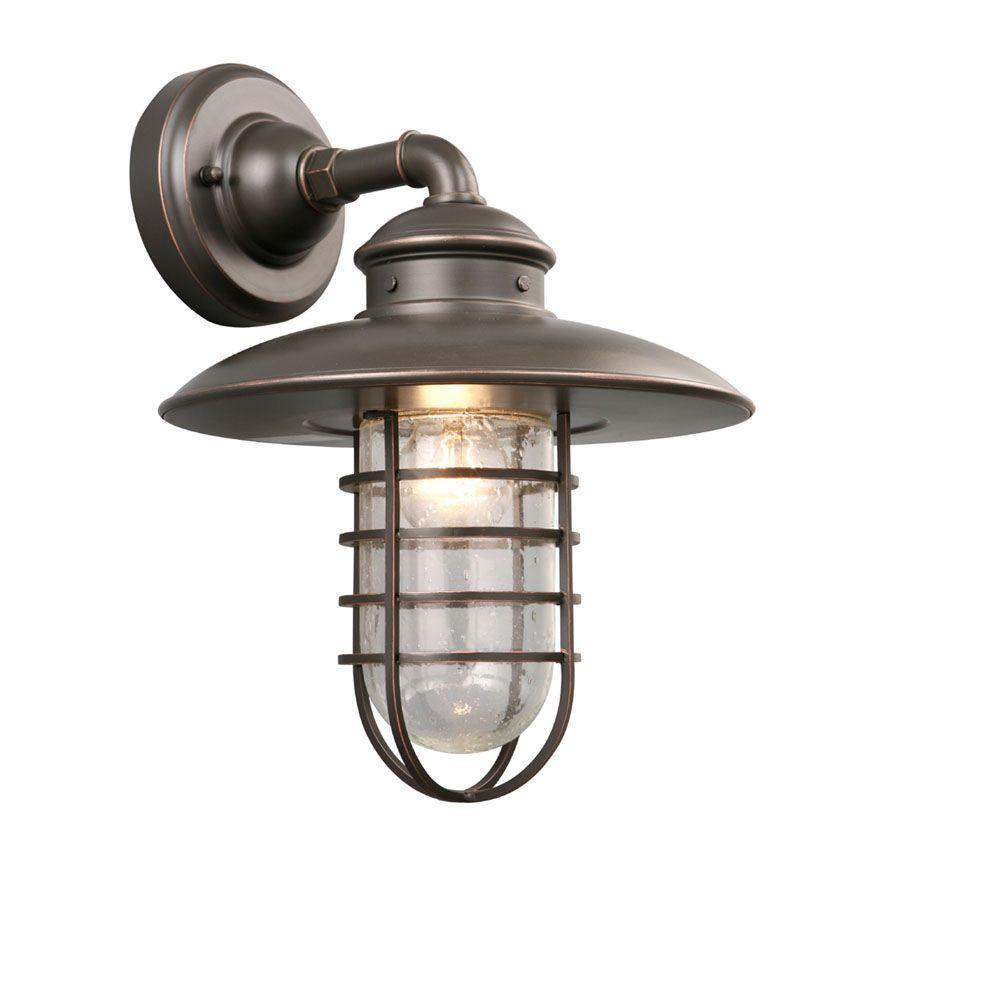 hampton bay exterior wall lantern light aged iron finish. 1-light oil-rubbed bronze outdoor wall lantern. hampton bay exterior lantern light aged iron finish l