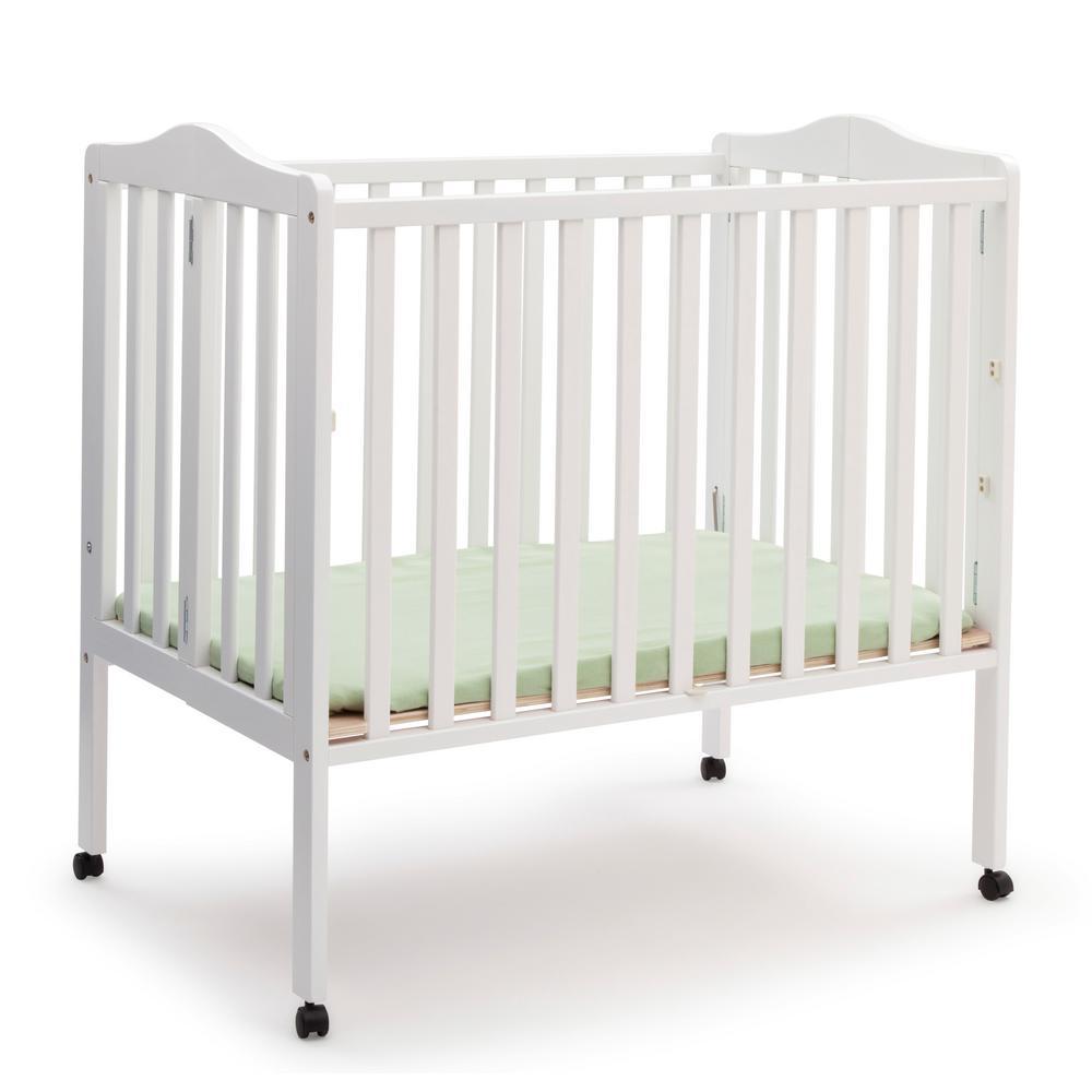 Portable White Folding Crib with Mattress