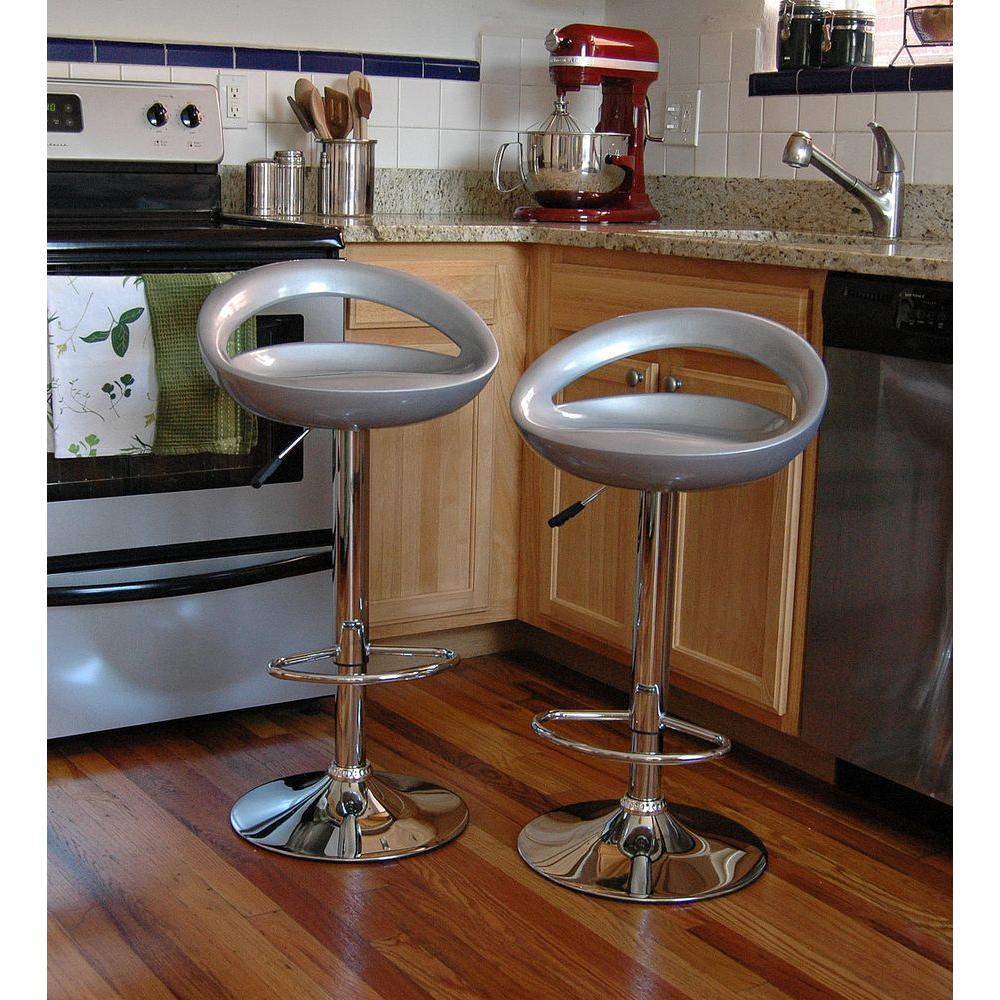Amerihome Adjule Height Chrome Bar Stool Set Of 2