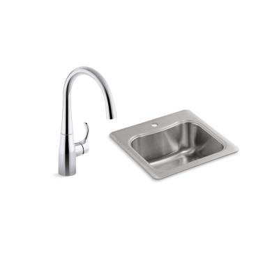 Staccato 18 Gauge Stainless Steel 20 in. 1-Hole Drop-in Bar Sink with Simplice Faucet