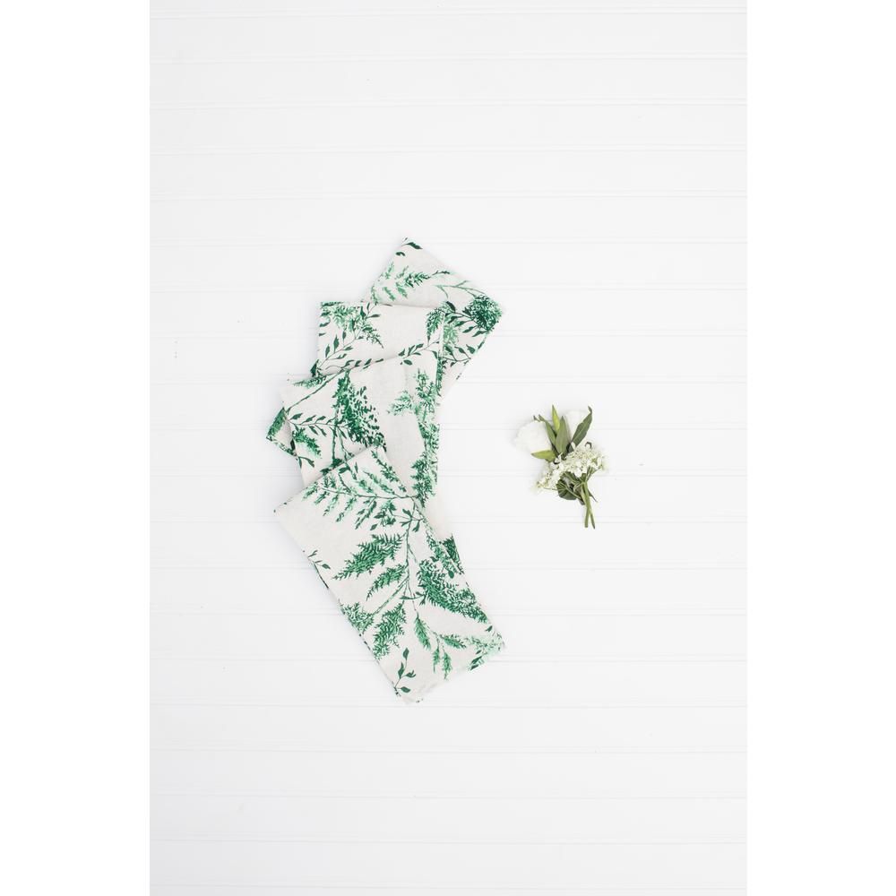 "Fern Green Cotton 20"" x 20"" Napkins Set of 4"