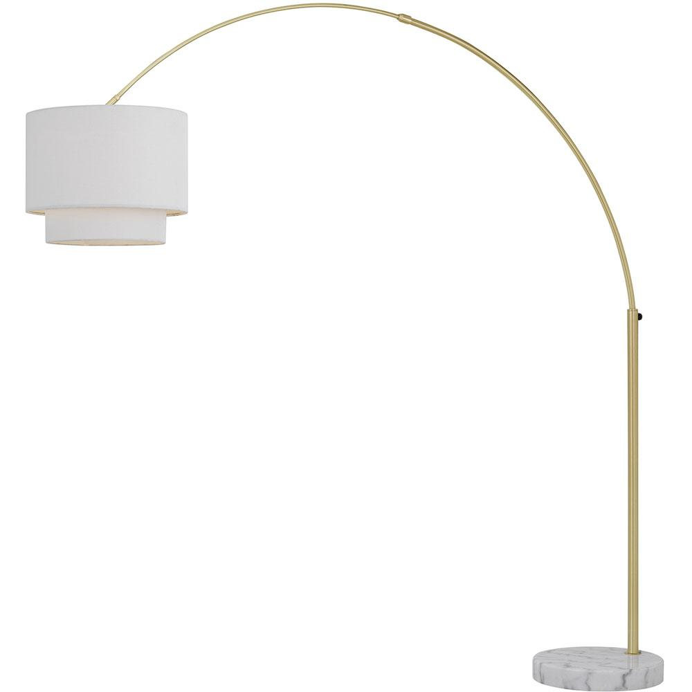 Af Lighting Arched 74 In Gold Floor Lamp With Fabric Shade
