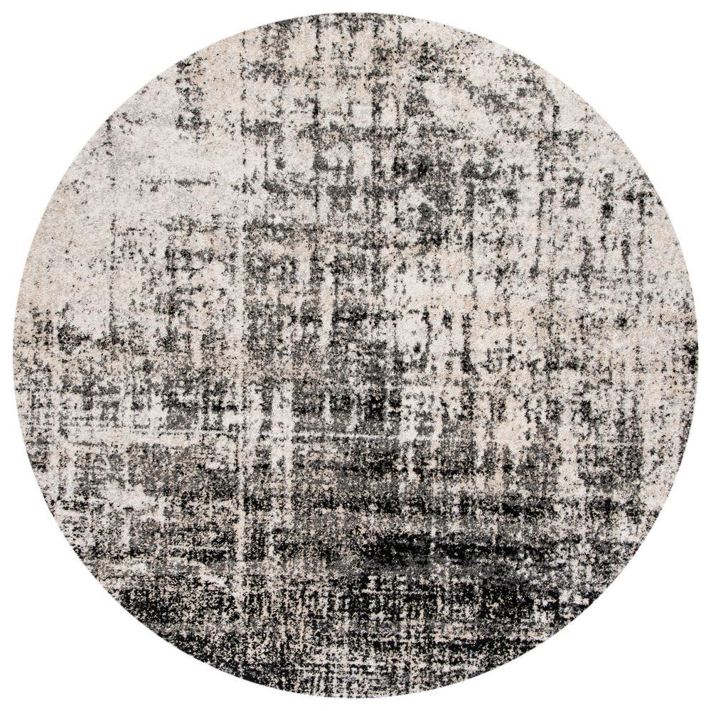 Adirondack Silver/Black 6 ft. x 6 ft. Round Area Rug