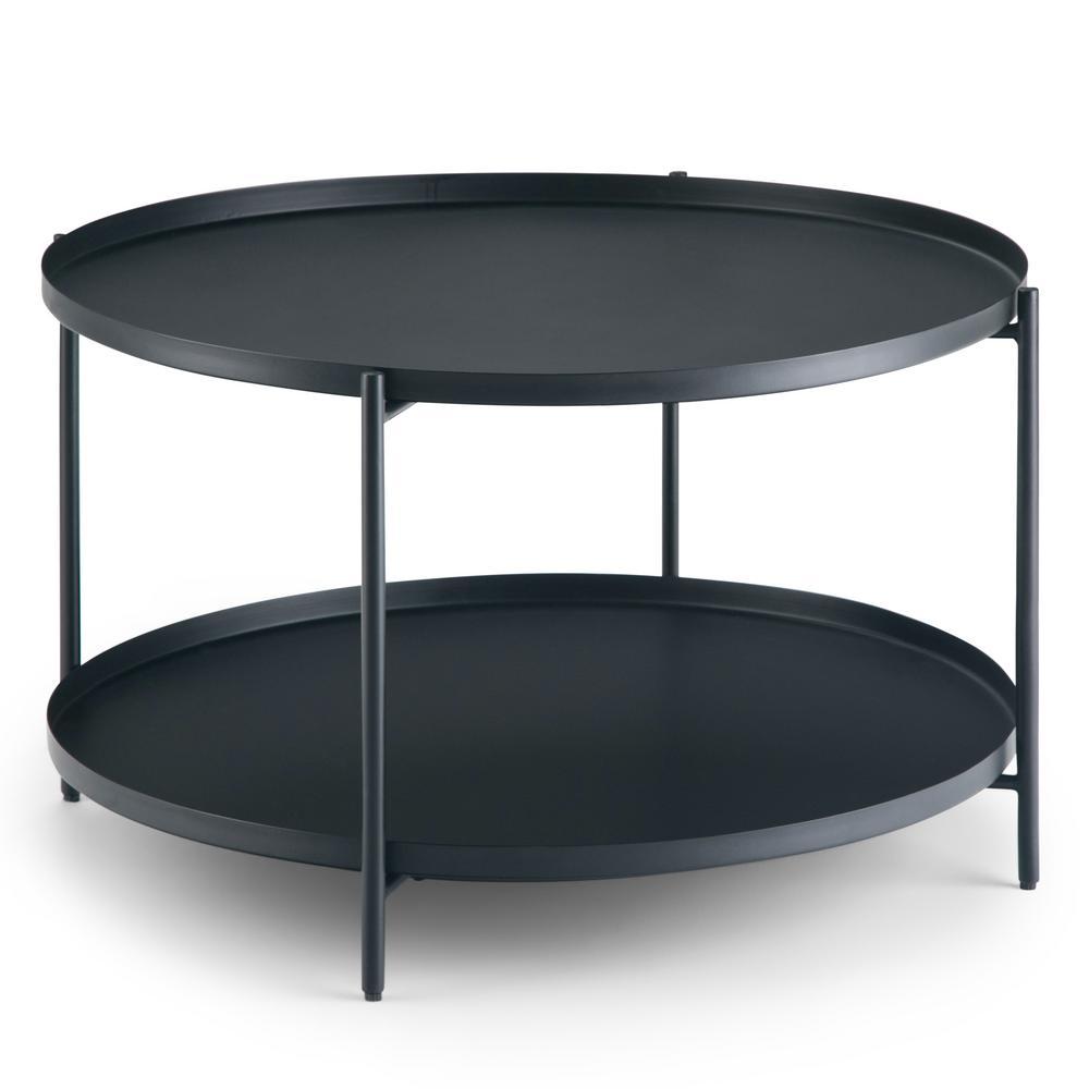Monet 32 in. Wide Square Modern Industrial Metal Coffee Table in Black