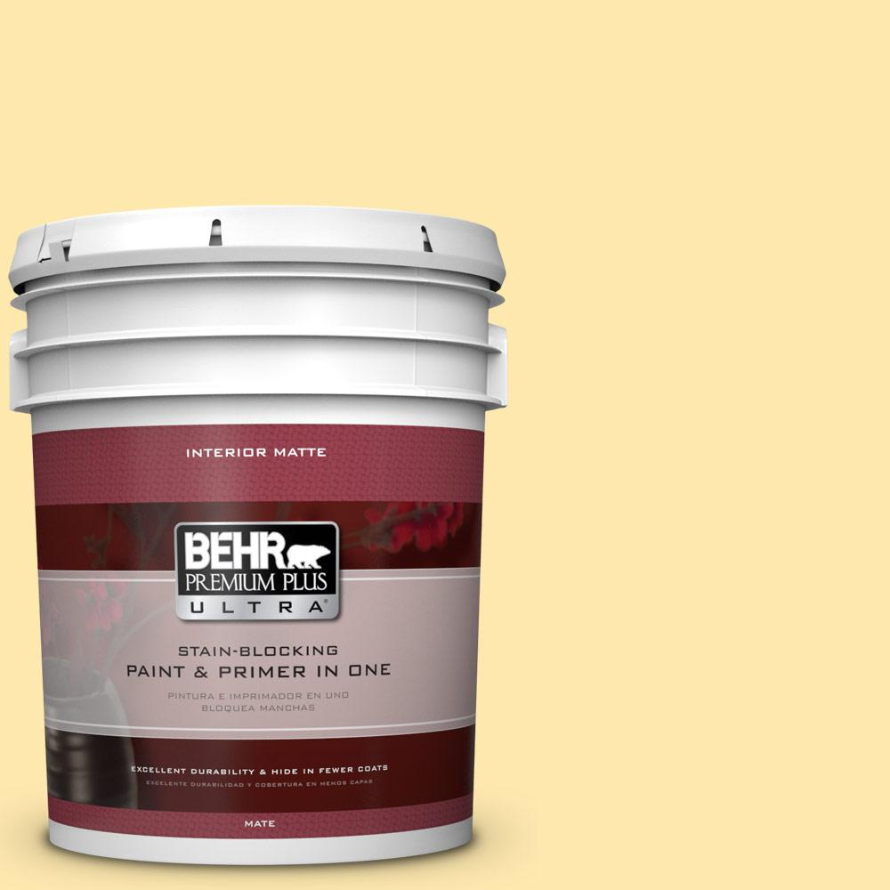 BEHR Premium Plus Ultra 5 gal. #350B-4 Lemon Souffle Flat/Matte Interior Paint