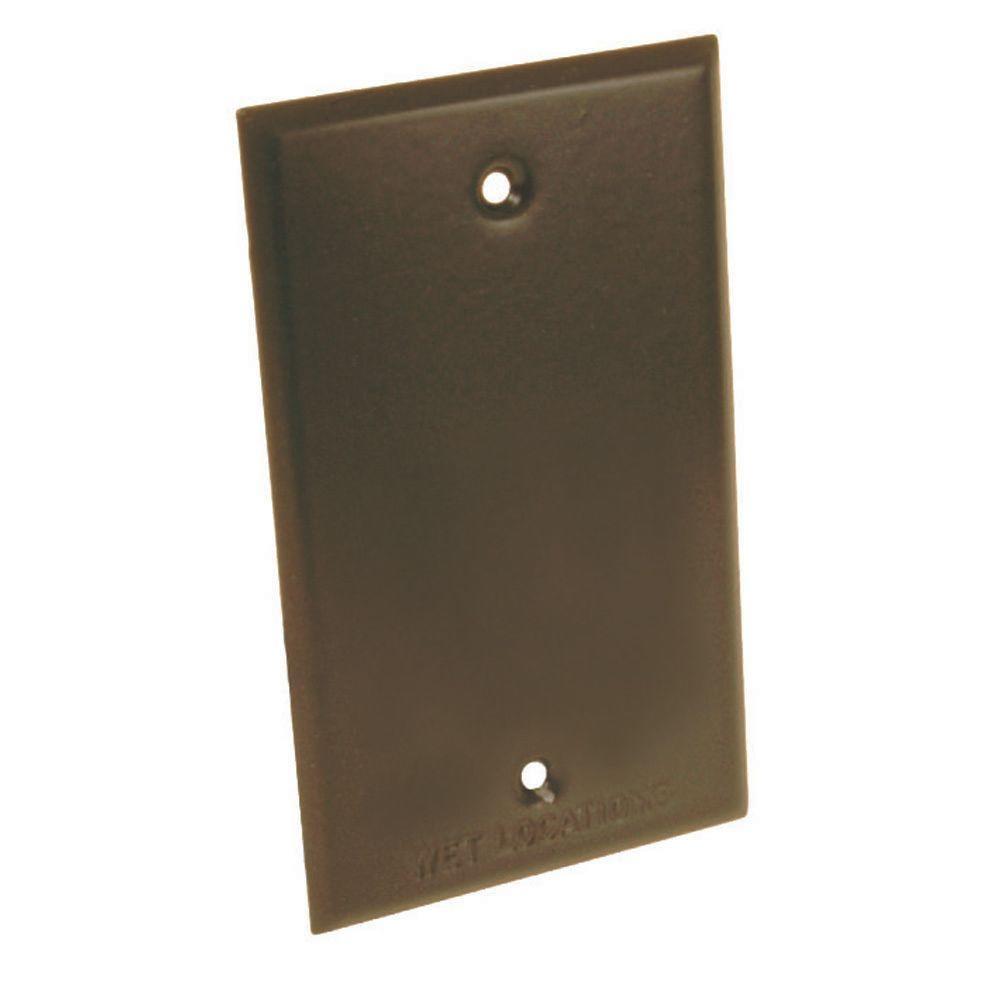 1-Gang Vertical/Horizontal Blank Weatherproof Cover, Bronze